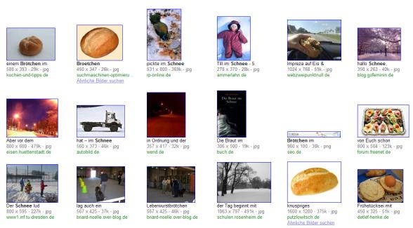 Brötchen im Schnee Bilder-suche