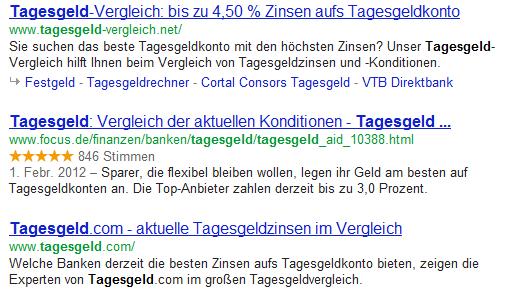 Focus.de mit Sternen in den Google SERP für Tagesgeld.